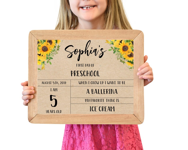 First Day of School Sign Template First Day of Preschool image 0