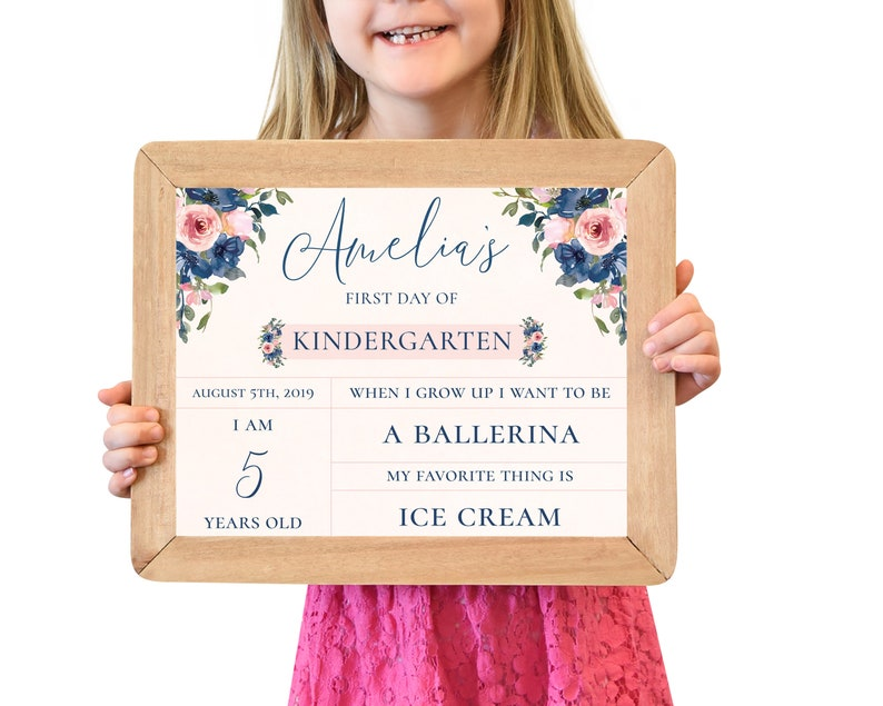 First Day of School Sign First Day of Kindergarten Sign image 0