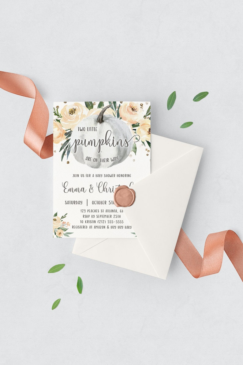 Fall Baby Shower Invitations Twins Pumpkin Baby Shower image 0
