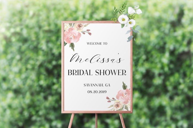 Floral Bridal Shower Welcome Sign Template Bridal Shower Sign image 0