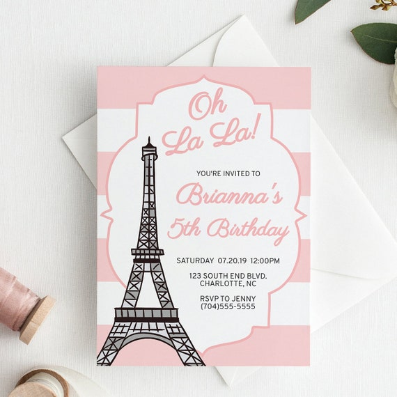 Paris Birthday Invitation For Girls Instant Download