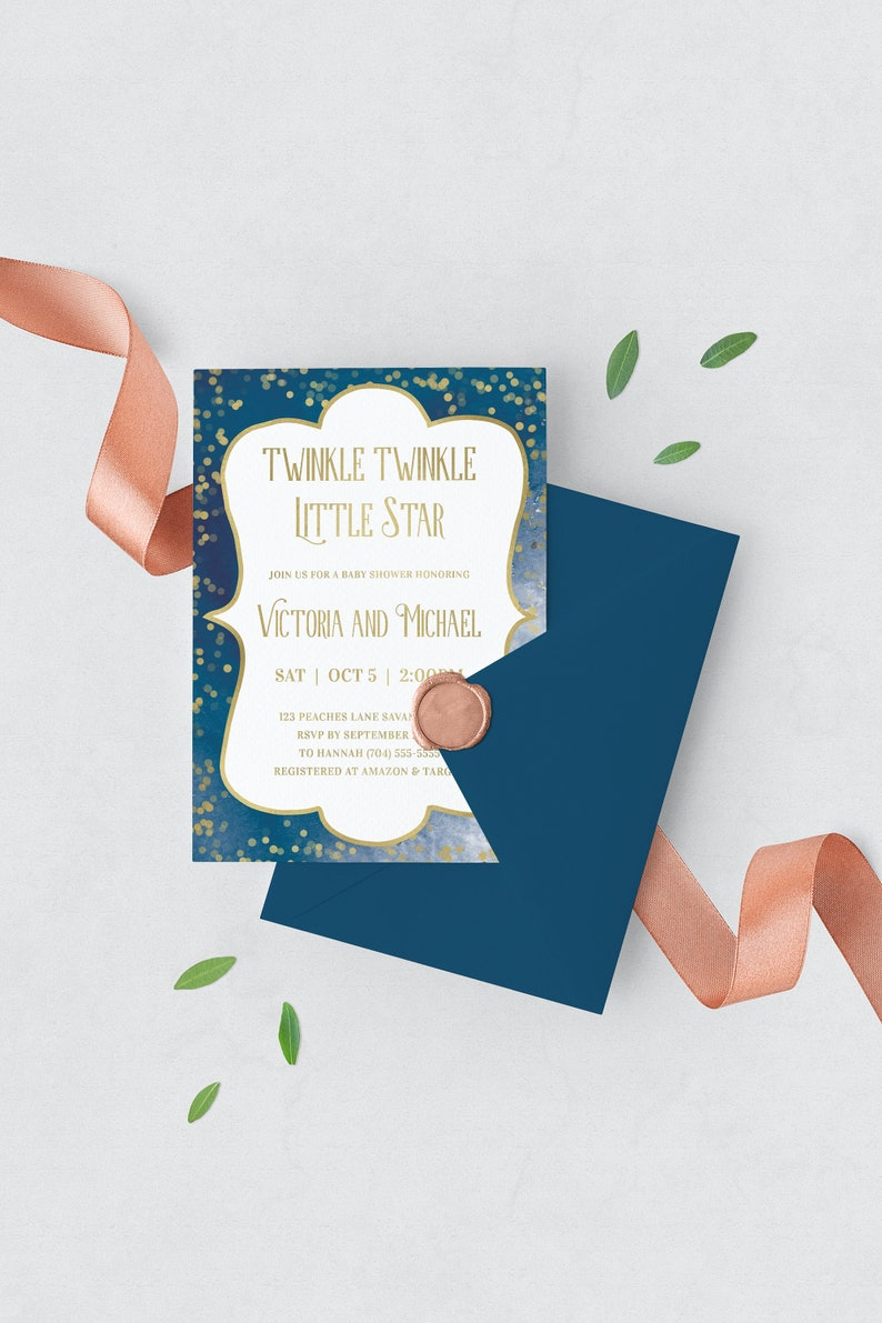 Twinkle Twinkle Little Star Baby Shower Invitation Template image 0