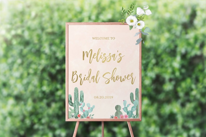Welcome Bridal Shower Sign Template Cactus Bridal Shower image 0