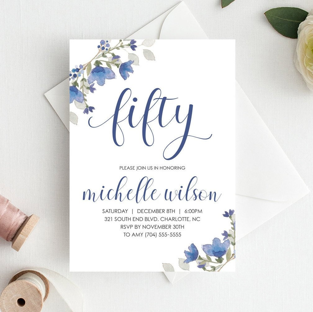 50th Birthday Invitation Template Download Adult