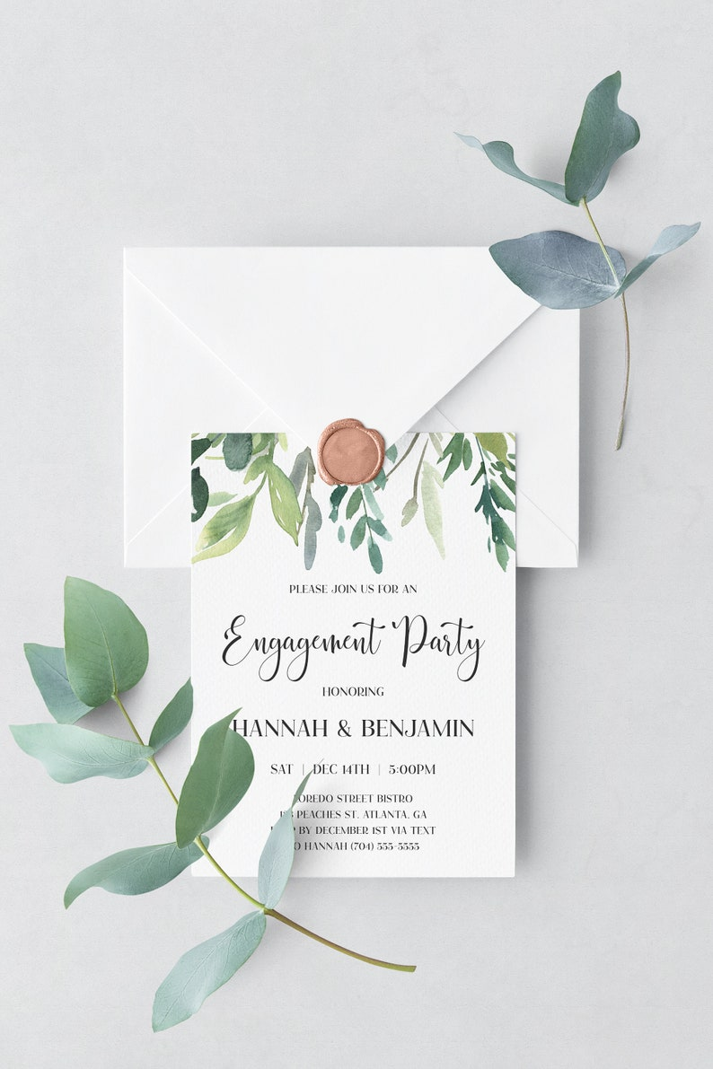 Greenery Engagement Invitation Template Download Printable image 0