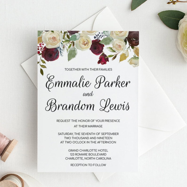graphic regarding Etsy Wedding Invitations Printable referred to as Printable Marriage Invitation Template, Floral Wedding day Invites Printable, Marsala Wedding day Invitation Instantaneous Down load, Marriage ceremony Invitations