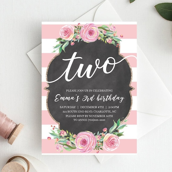 Floral Girls Birthday Invitations For Two Year Old