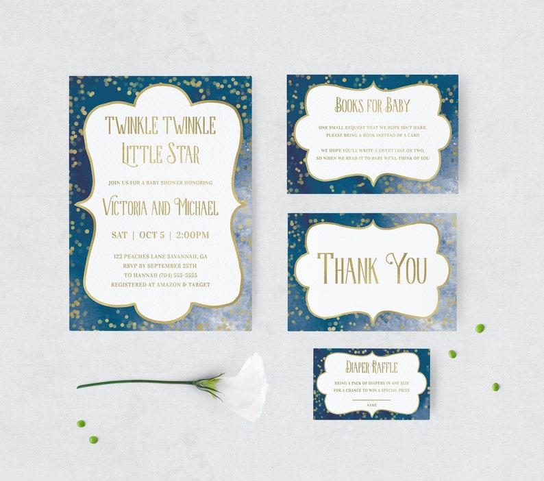Twinkle Twinkle Little Star Baby Shower Invitation Template image 0