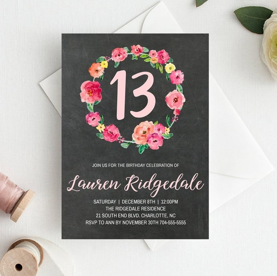 13th Birthday Invitation Template 13 Invitations For