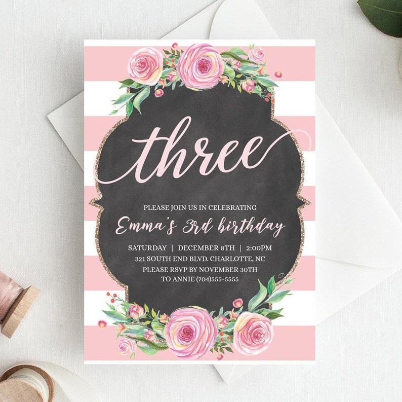 3rd Birthday Invitations For Girls Third