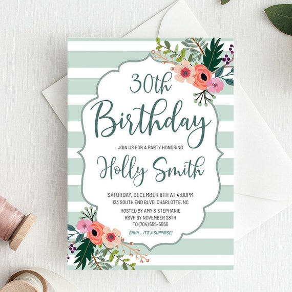 Floral Birthday Invitations Template Download 30th Birthday Etsy