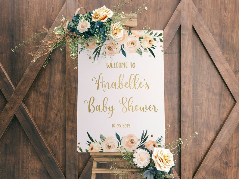 Baby Shower Sign Welcome Sign Baby Shower Girl Baby Shower image 0