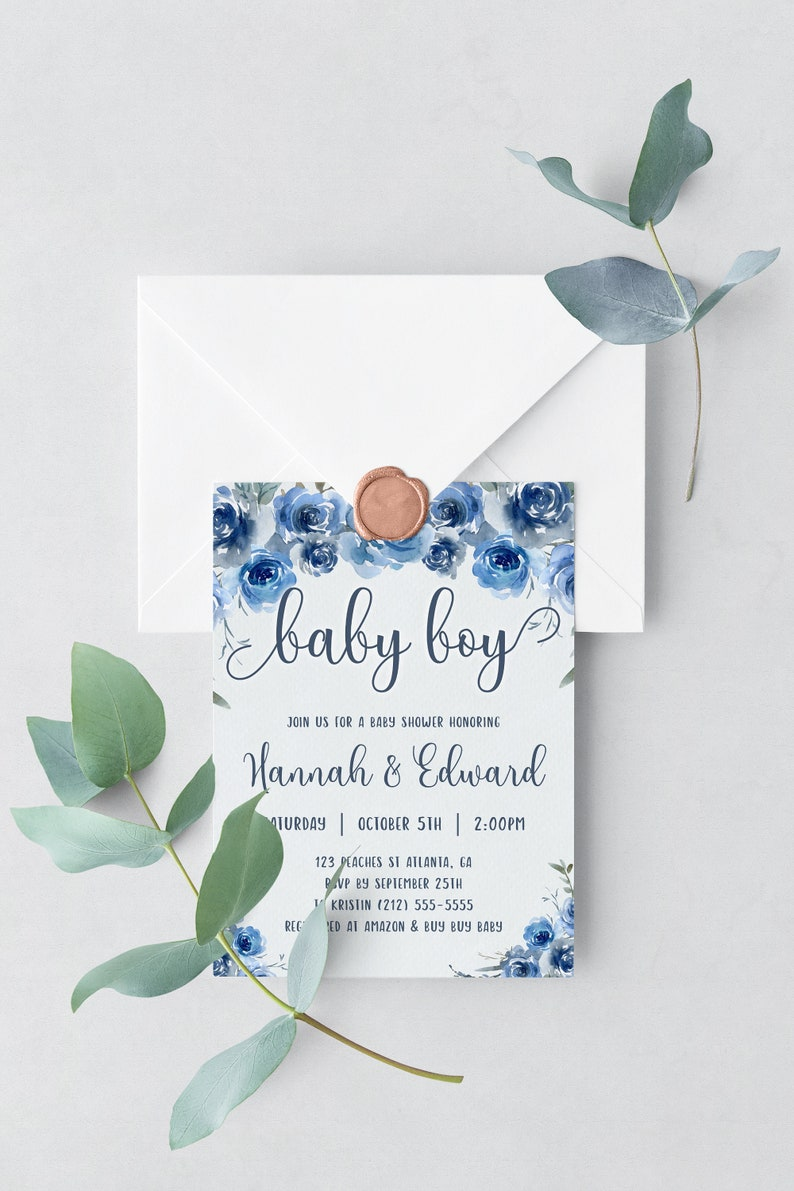 Baby Shower Invitation Boy Baby Shower Invitation Template image 0