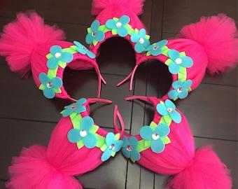 trolls headband, trolls crown, pink troll headband, trolls hair, easter headband, pink trolls hair, poppy headband, trolls birthday