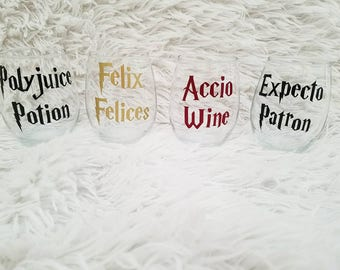 Harry Potter Inspired Stemless Wine Glasses l Polyjuice Potion l Felix Felices l Accio Wine l Expecto Patron