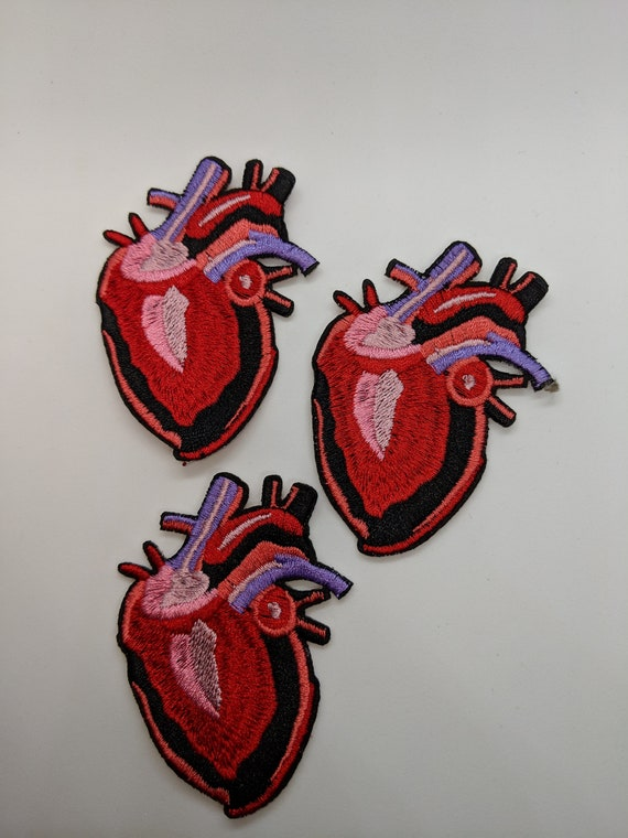 X-Ray Anatomical Red Heart Iron or Sew on Embroidered Patch