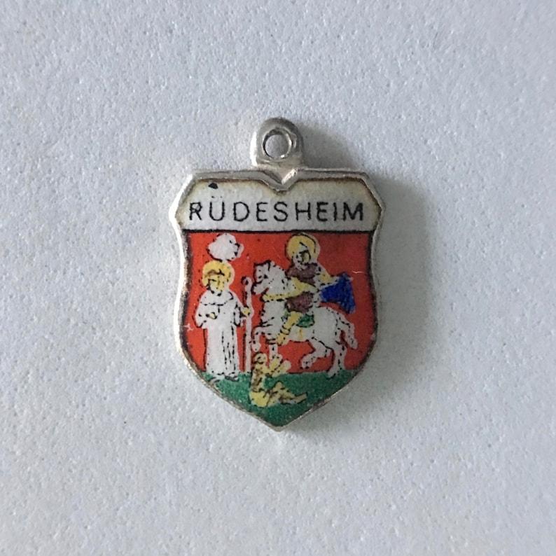 RUDESHEIM .800 Silver and Enamel Vintage REU Travel Shield Charm