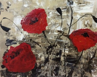 Impressionist Poppies Custom 8x10 Canvas Painting wall art // abstract poppies with off white background // impasto palette knife //