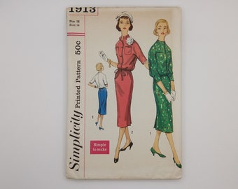 1950s Vintage Dress Sewing Pattern Simplicity 1913 Women Size 14 B34 W26 H36