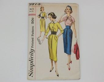 1950s Vintage Dress Sewing Pattern Simplicity 1973 Size 14 B34 W26 H36