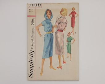 1950s Vintage Dress Sewing Pattern Simplicity 1919 Women Size 14 B34 W26 H36
