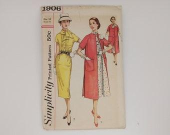 1950s Vintage Dress Sewing Pattern Simplicity 1906 Women Size 16 B36 W28 H38