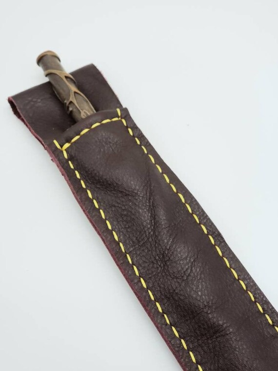 Off White and Brown Leather Magic Wand Holster for Wizard Fans As Seen in UOIOA Bientro Orlando