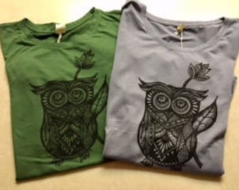 Owl Shirt Women, Bamboo T-Shirt, Owl Gift, Owl Bamboo Tee, Gift for Owl Lovers, Gift Idea for Women, Organic T-Shirts, Ladies Owl Tops