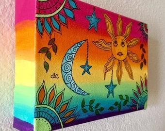 Sun Moon Painting Etsy