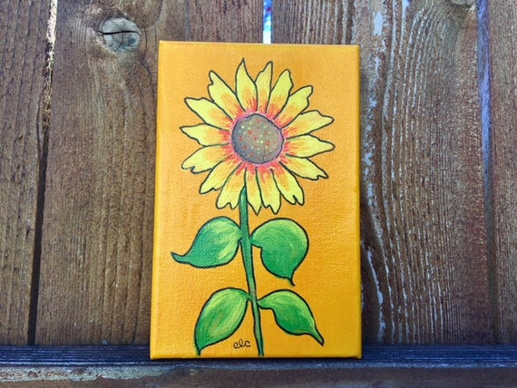 Sunflower Painting 6x4 Mini Canvas Flower Wall Art Wildflower On Canvas Bright Colored Art Sunflower Room Decor Sunflower Lover Gift