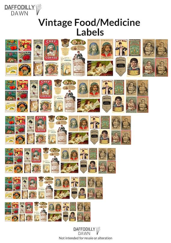 Vintage Food Medicine Labels 1 12 Scale Mini