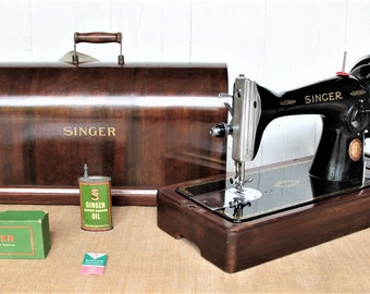 Singer 15k88 hand crank sewing machine with reverse stitch and dropping feed dogs