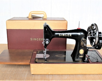 Singer 99k hand crank sewing machine with back stitching feature - mid century