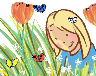 Flowers Butterflies Printable Illustration Design