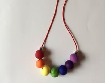 Handmade kids polymer clay necklace, rainbow colour