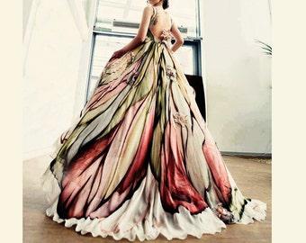 Long Mother of the bride dress, Hand painted silk dress, Wedding guest dress, Long evening gown, Floral maxi dress women, Formal dress