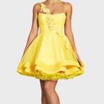 Custom yellow prom dress, Knee length dress