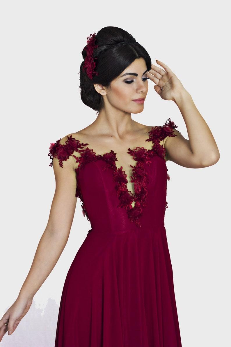 def730e32a1 Red bridesmaid dress Mother of the bride dress A line modest
