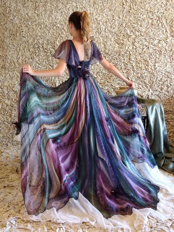 Long Silk Dress Women Silk Dress Evening Gown Wedding Guest Dress