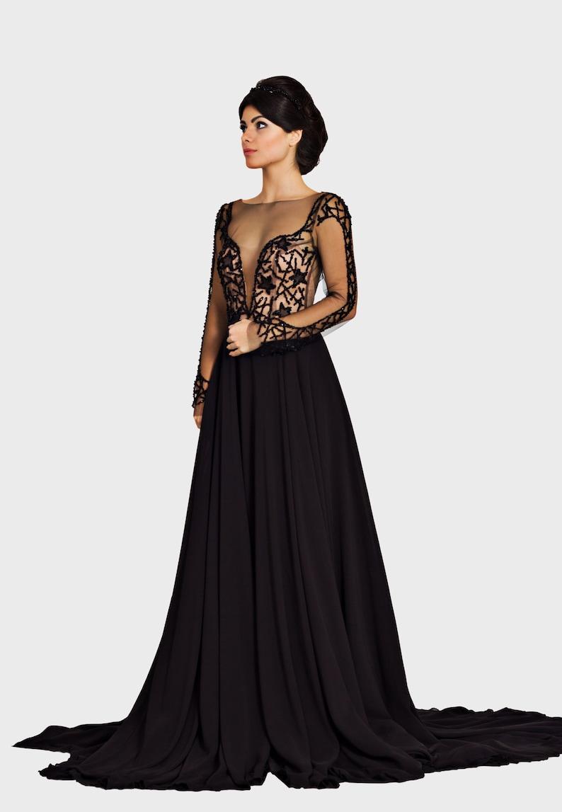 1fdf7fc3b48d50 Classy elegant dress in black romantic prom dress Bridesmaid