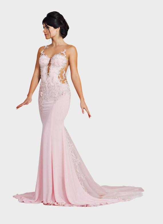 Langen rosa Kleid niedrige zurück Kleid