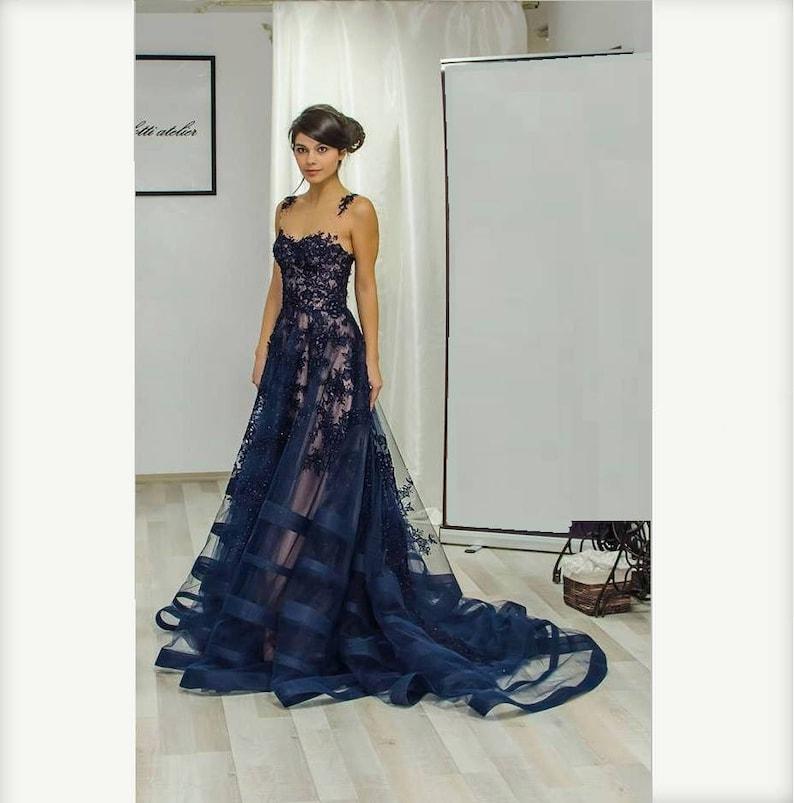 Blu lungo la madre della sposa vestito da sera Sexy abito  381f023e0ded