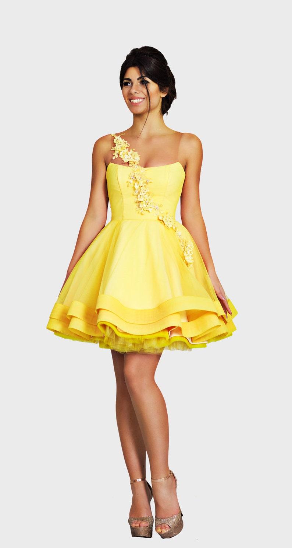55817ea4948f Abito corto giallo Prom vestito da ballo Beaded chiffon