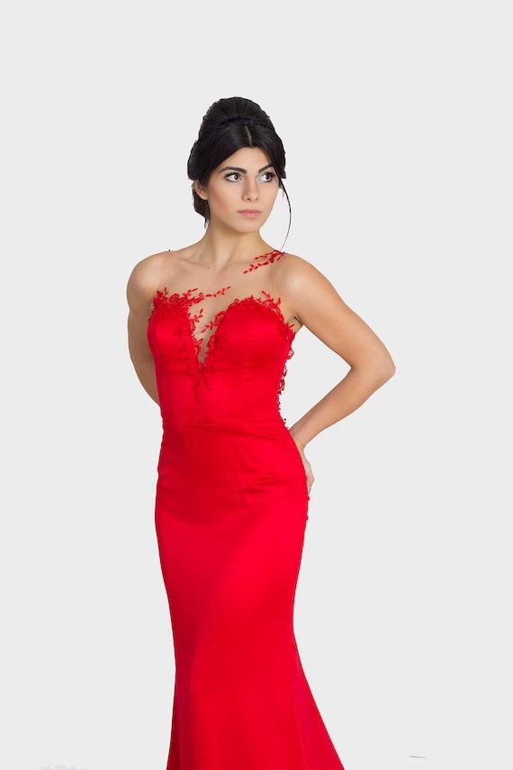 Red bridesmaid dress Long red dress Elegant ball dress Red | Etsy