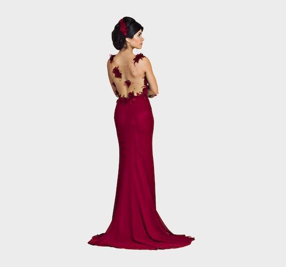 Burgund Prom Kleid oder Kleid Brautjungfer Kleid in rot