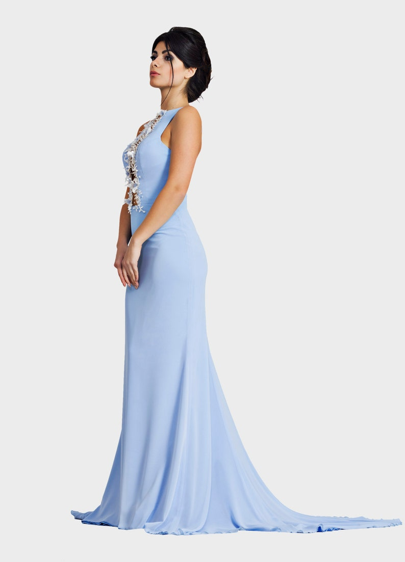 20abb7cbb897a1 Blau chiffon blaue Trompete Kleid Brautjungfernkleid Mutter