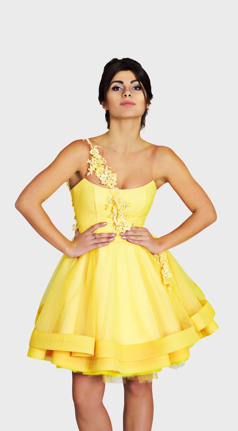 Gelbe Ballkleid Knie Länge Kleid kurze Tüll Kleid Sexy   Etsy
