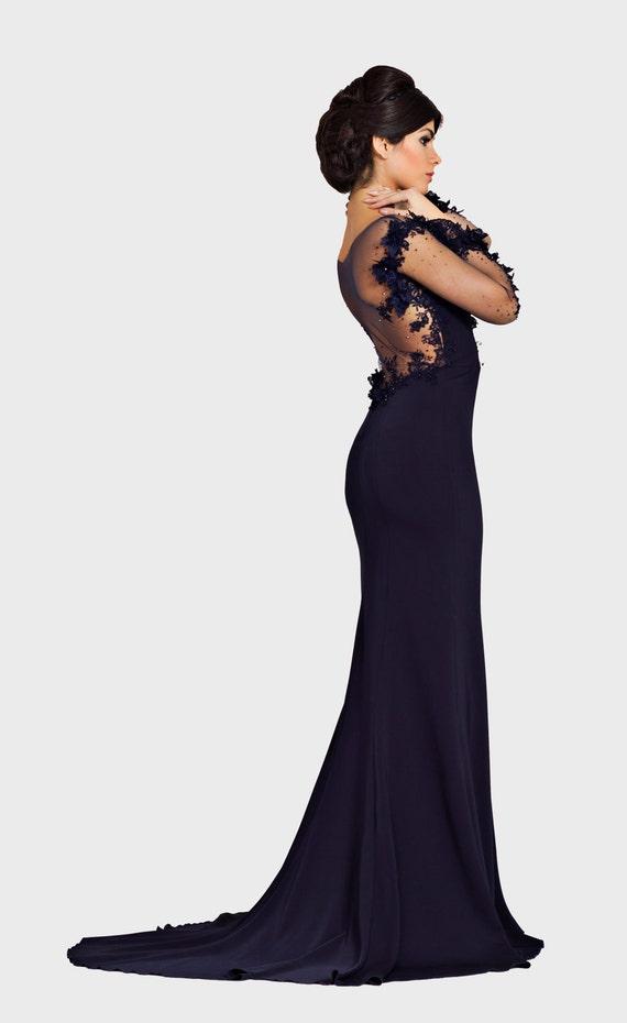 Dunkelblaues Kleid offenen Rücken Kleid lange Abendkleider