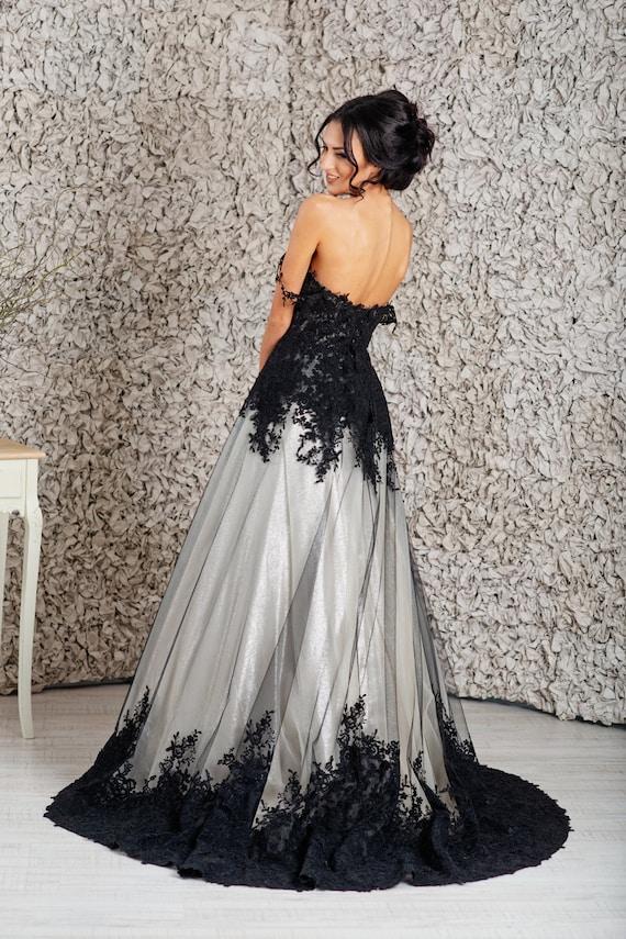 Black wedding dress, Goth wedding dress, Alternative wedding dress, Empire  wedding dress
