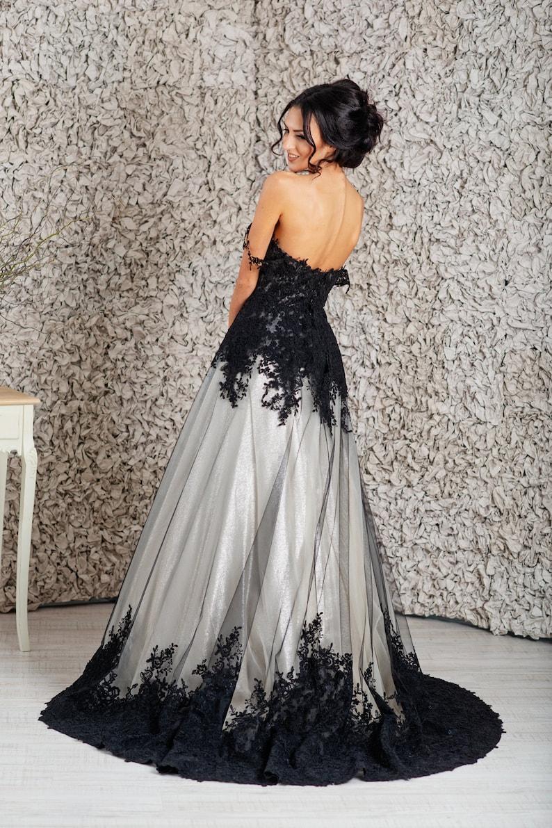 Black Wedding Gown.Black Wedding Dress Goth Wedding Dress Alternative Wedding Dress Empire Wedding Dress
